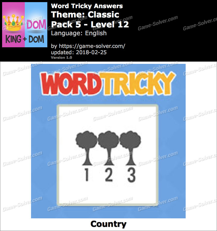 Word Tricky Classic Pack 5-Level 12 Answers