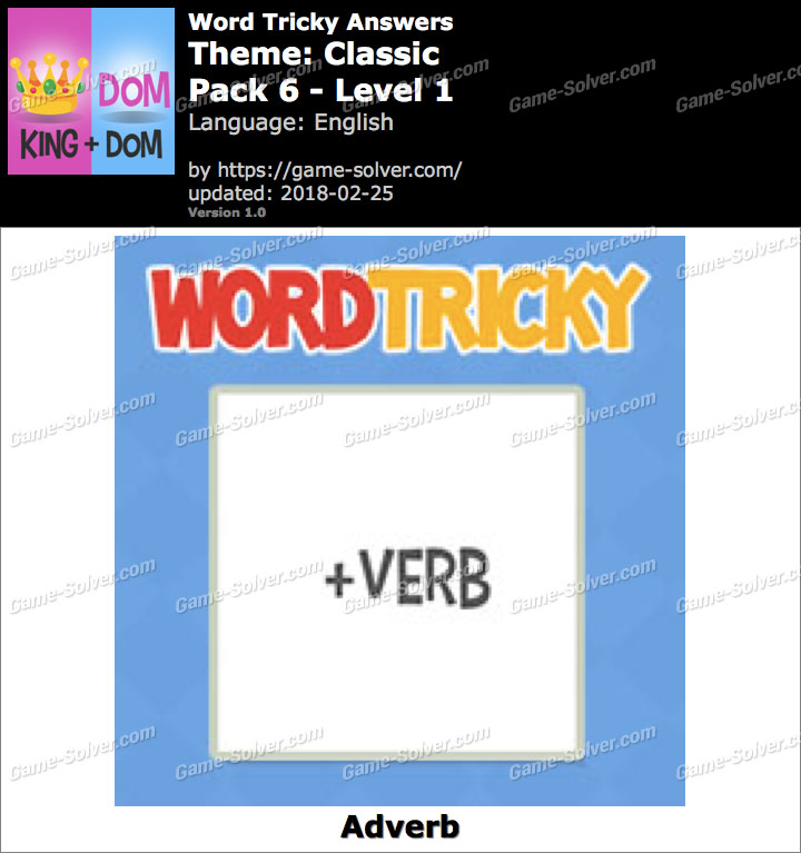 Word Tricky Classic Pack 6-Level 1 Answers