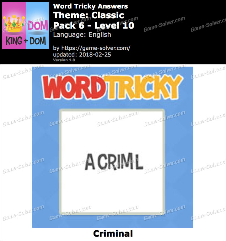 Word Tricky Classic Pack 6-Level 10 Answers