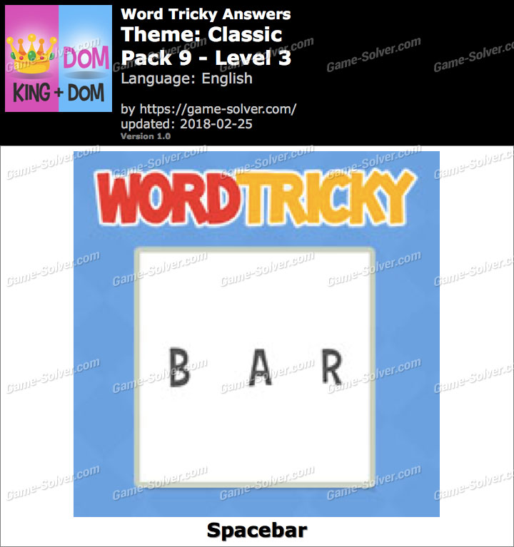 Word Tricky Classic Pack 9-Level 3 Answers