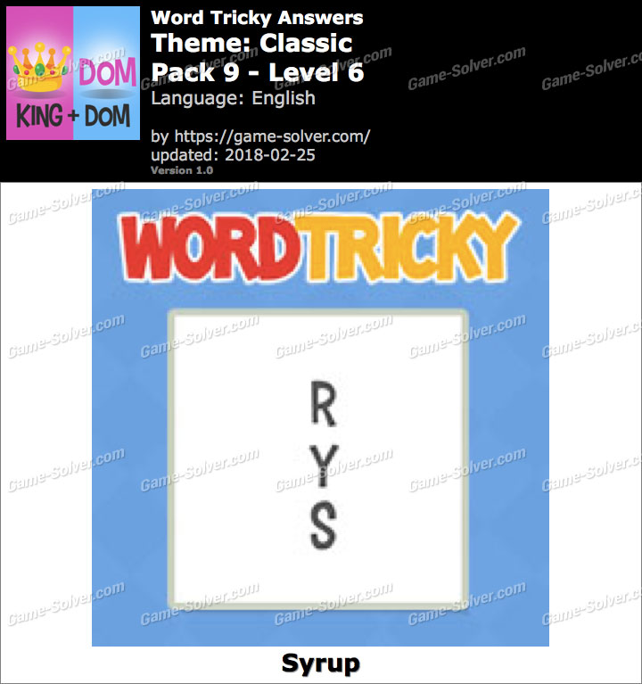 Word Tricky Classic Pack 9-Level 6 Answers