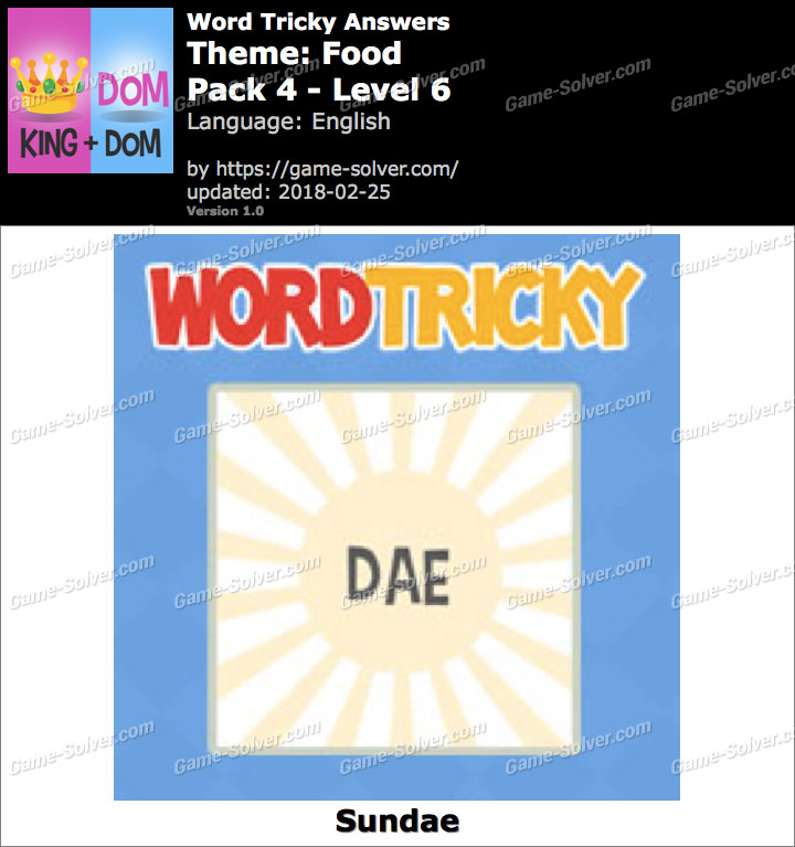 Word Tricky Food Pack 4-Level 6 Answers