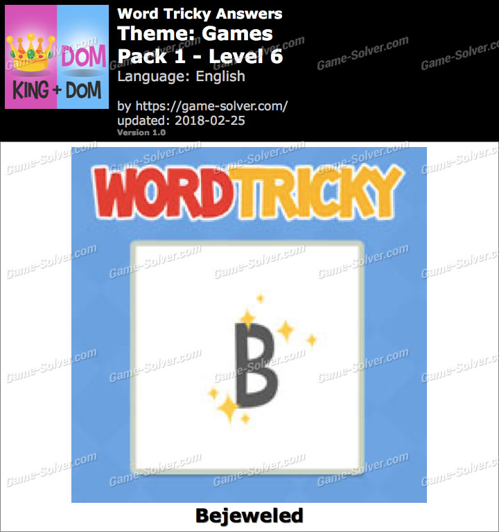Word Tricky Games Pack 1-Level 6 Answers