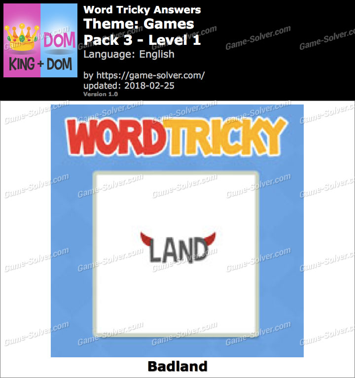 Word Tricky Games Pack 3-Level 1 Answers