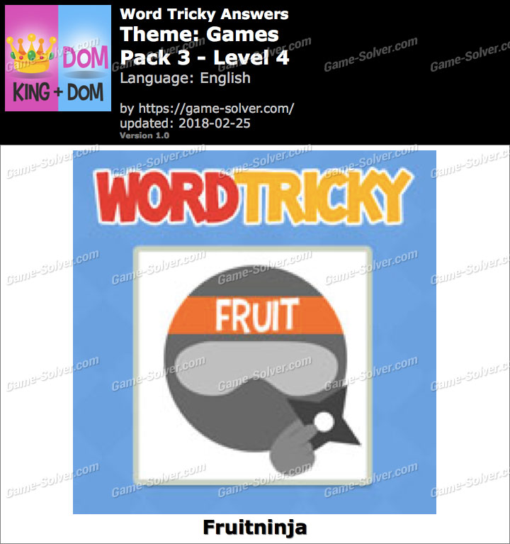 Word Tricky Games Pack 3-Level 4 Answers