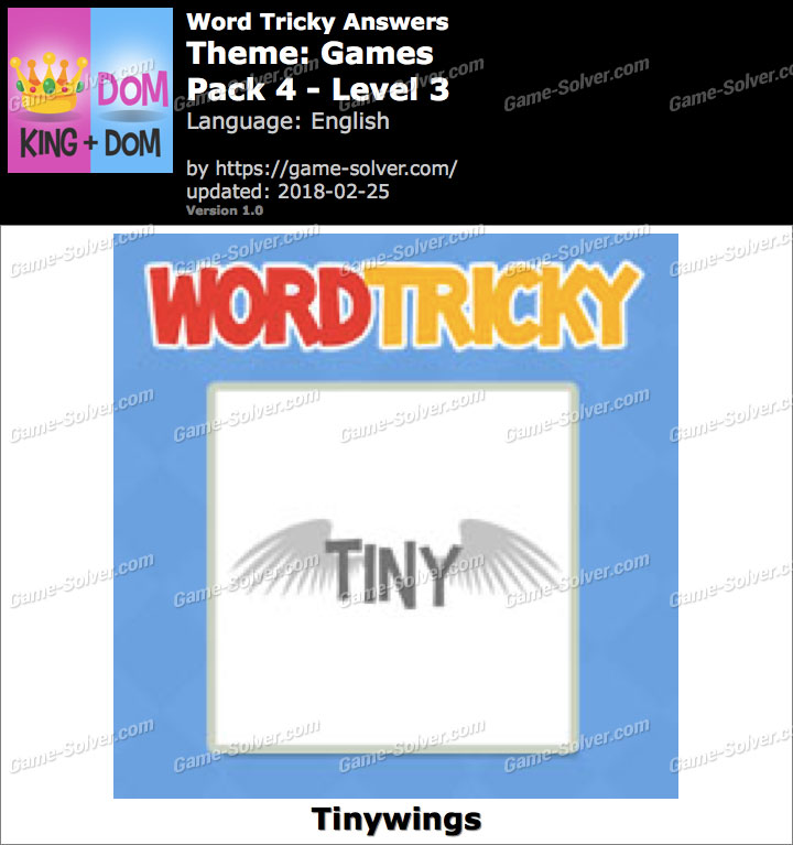 Word Tricky Games Pack 4-Level 3 Answers