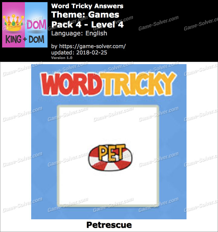 Word Tricky Games Pack 4-Level 4 Answers