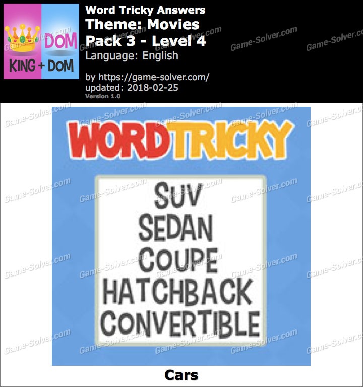 Word Tricky Movies Pack 3-Level 4 Answers
