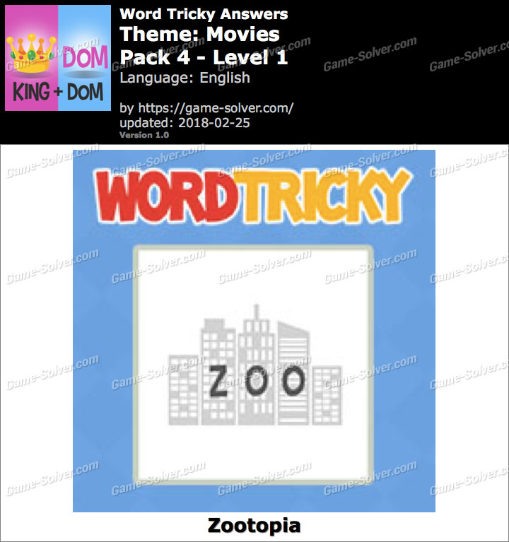 Word Tricky Movies Pack 4-Level 1 Answers