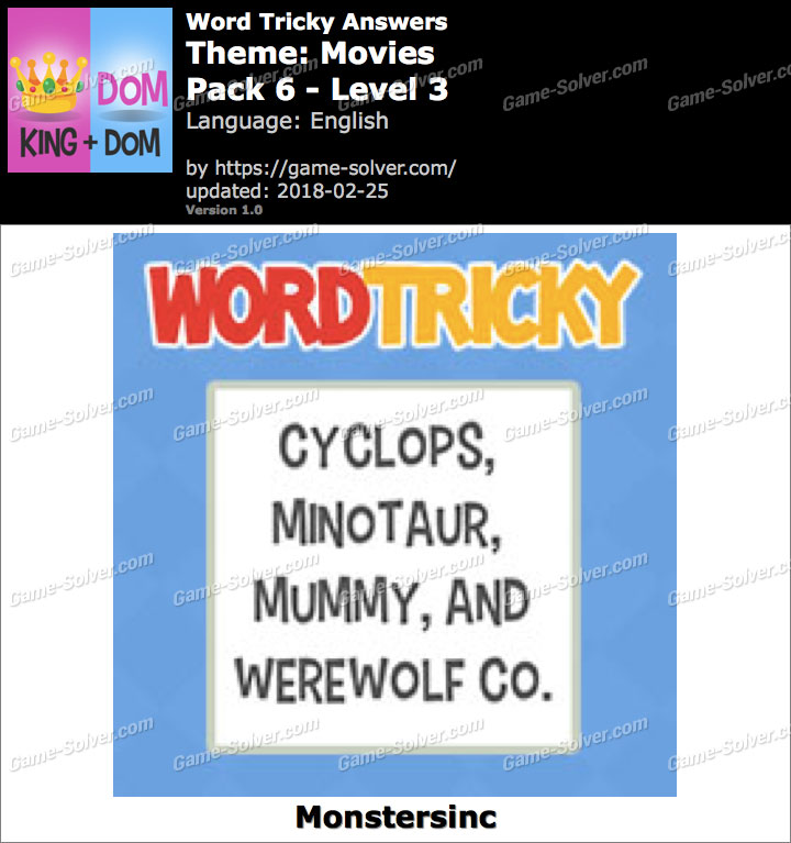 Word Tricky Movies Pack 6-Level 3 Answers