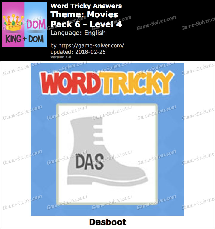 Word Tricky Movies Pack 6-Level 4 Answers