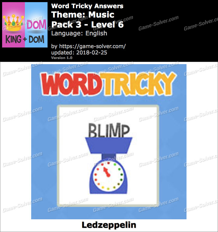 Word Tricky Music Pack 3-Level 6 Answers