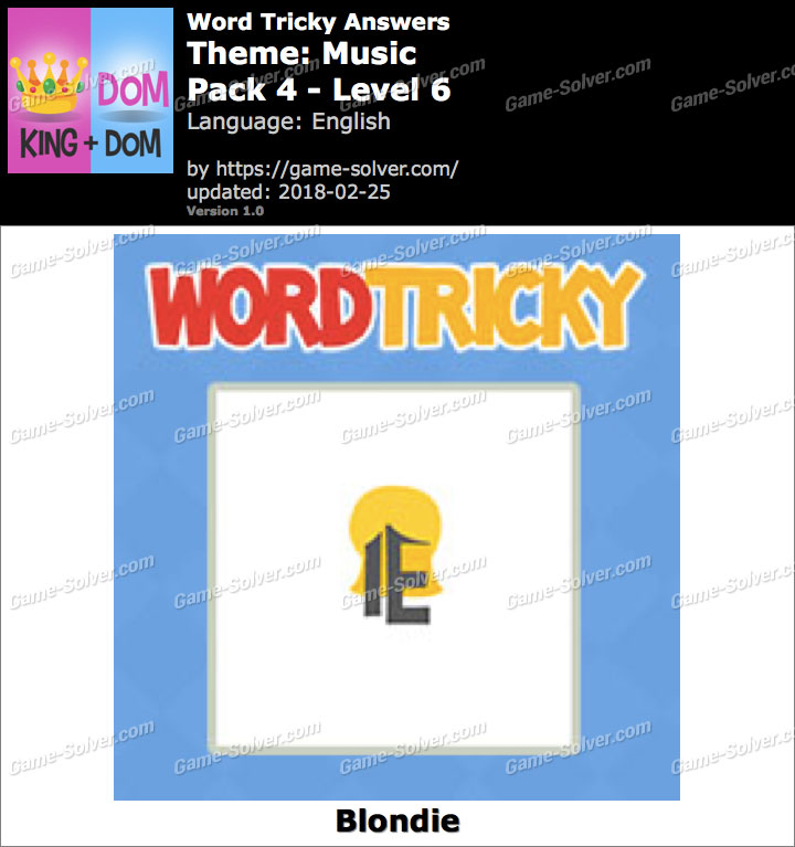 Word Tricky Music Pack 4-Level 6 Answers