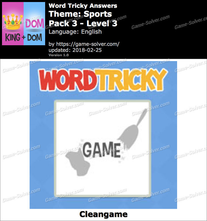Word Tricky Sports Pack 3-Level 3 Answers