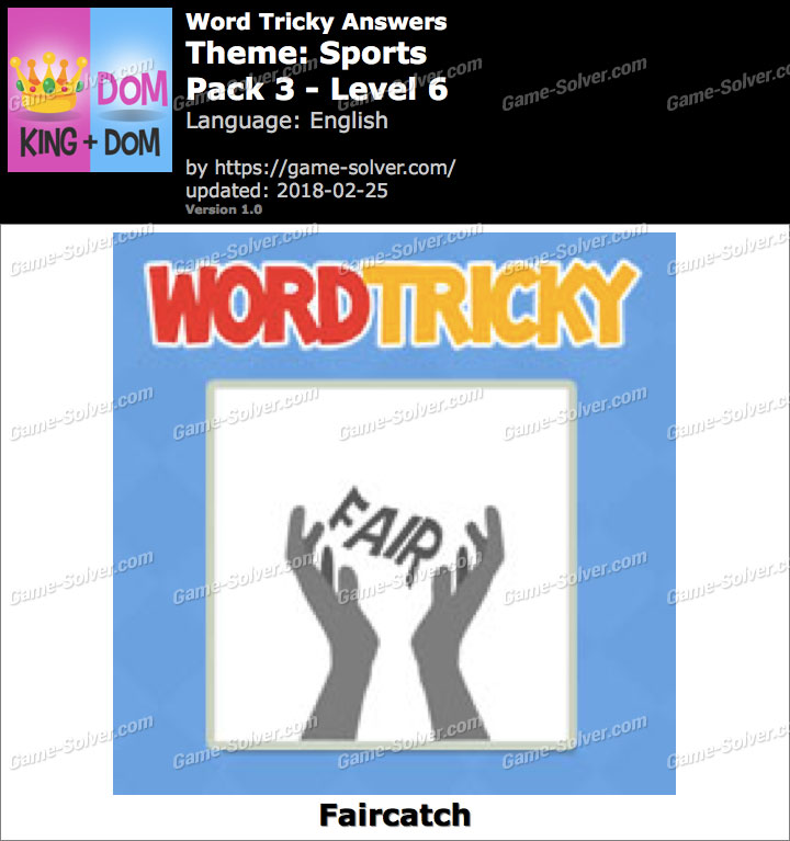 Word Tricky Sports Pack 3-Level 6 Answers