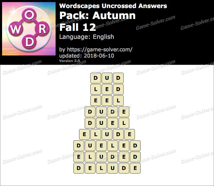 Wordscapes Uncrossed Autumn-Fall 12 Answers