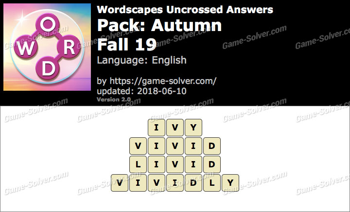 Wordscapes Uncrossed Autumn-Fall 19 Answers