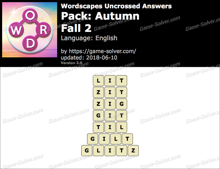 Wordscapes Uncrossed Autumn-Fall 2 Answers