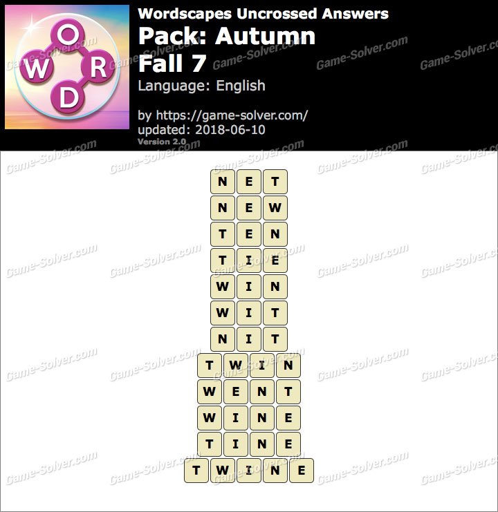 Wordscapes Uncrossed Autumn-Fall 7 Answers