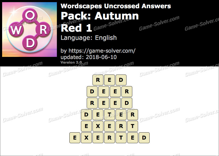 Wordscapes Uncrossed Autumn-Red 1 Answers