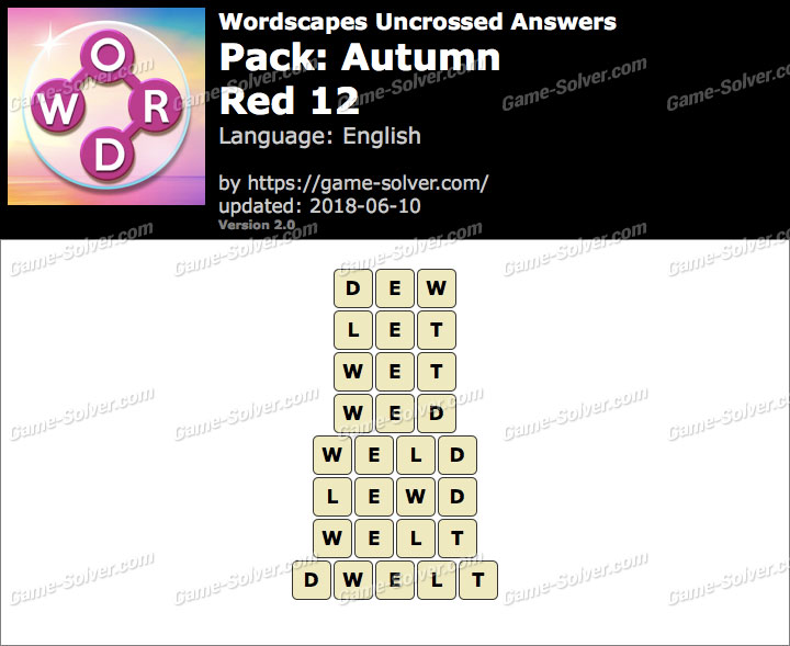 Wordscapes Uncrossed Autumn-Red 12 Answers