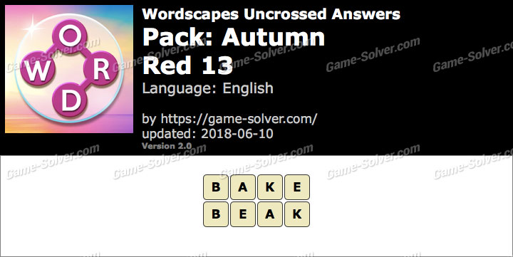Wordscapes Uncrossed Autumn-Red 13 Answers