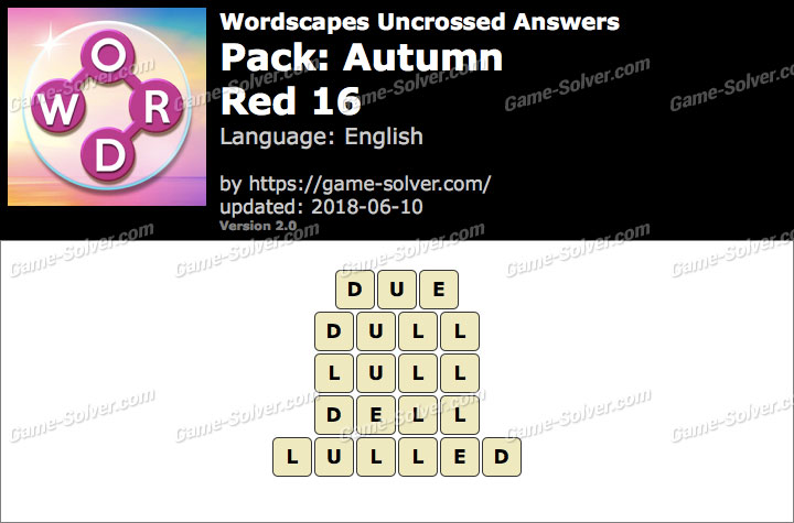 Wordscapes Uncrossed Autumn-Red 16 Answers