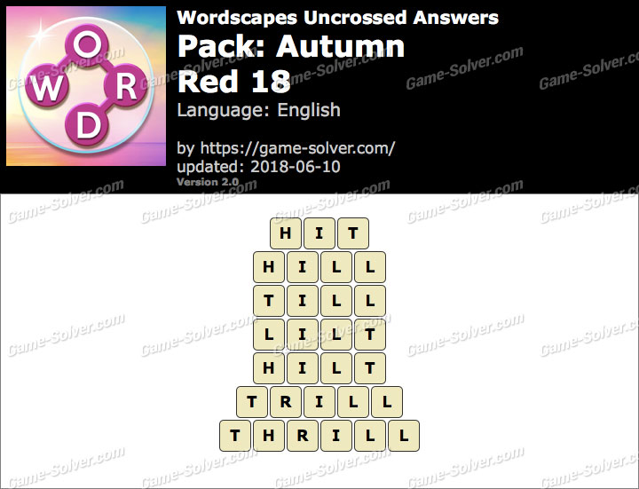 Wordscapes Uncrossed Autumn-Red 18 Answers