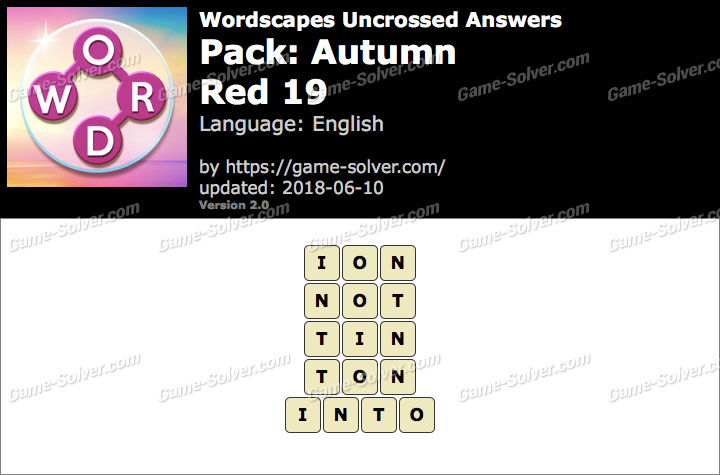 Wordscapes Uncrossed Autumn-Red 19 Answers