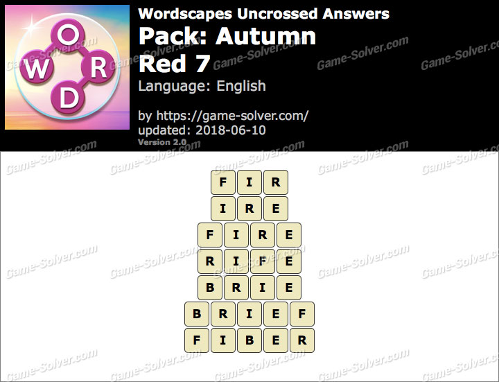 Wordscapes Uncrossed Autumn-Red 7 Answers