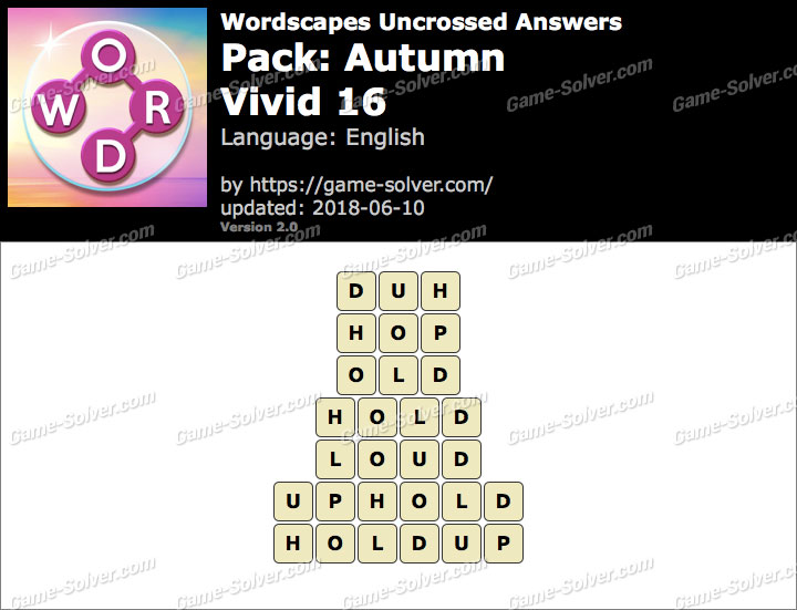 Wordscapes Uncrossed Autumn-Vivid 16 Answers
