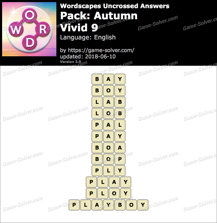 Wordscapes Uncrossed Autumn-Vivid 9 Answers