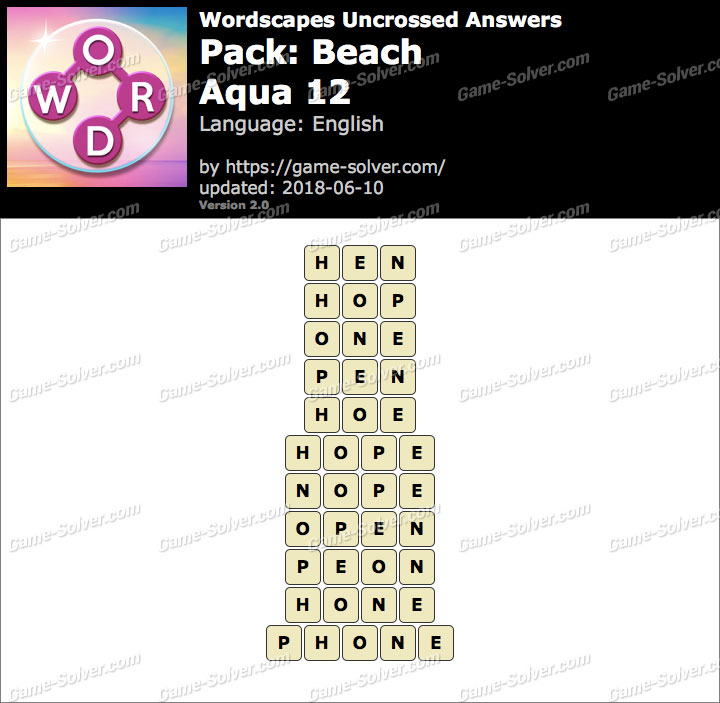 Wordscapes Uncrossed Beach-Aqua 12 Answers