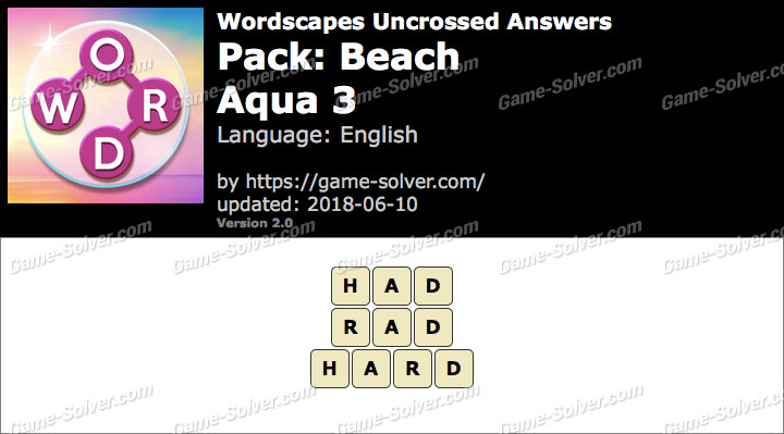 Wordscapes Uncrossed Beach-Aqua 3 Answers