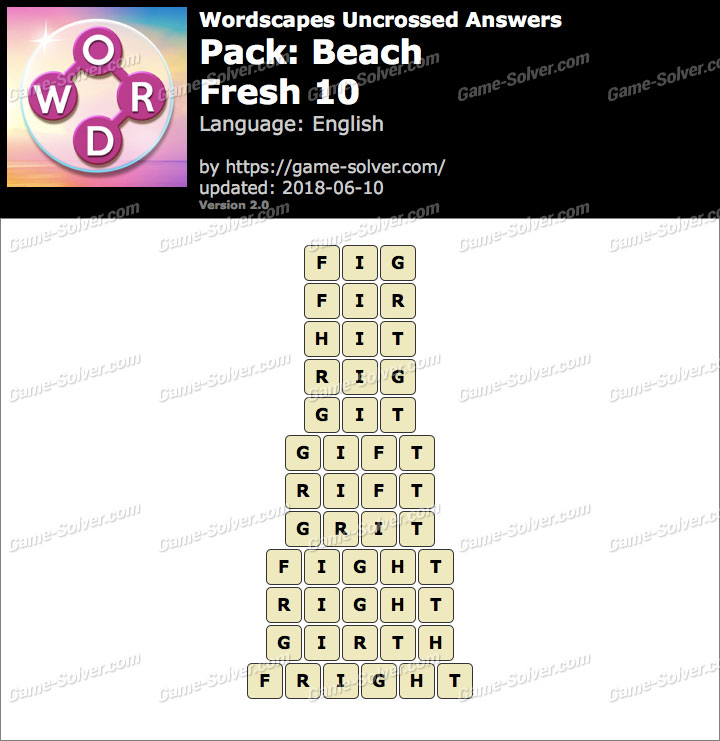 Wordscapes Uncrossed Beach-Fresh 10 Answers