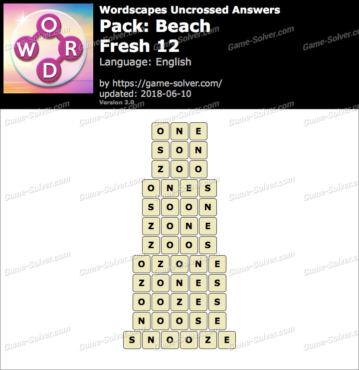 Wordscapes Uncrossed Beach-Fresh 12 Answers