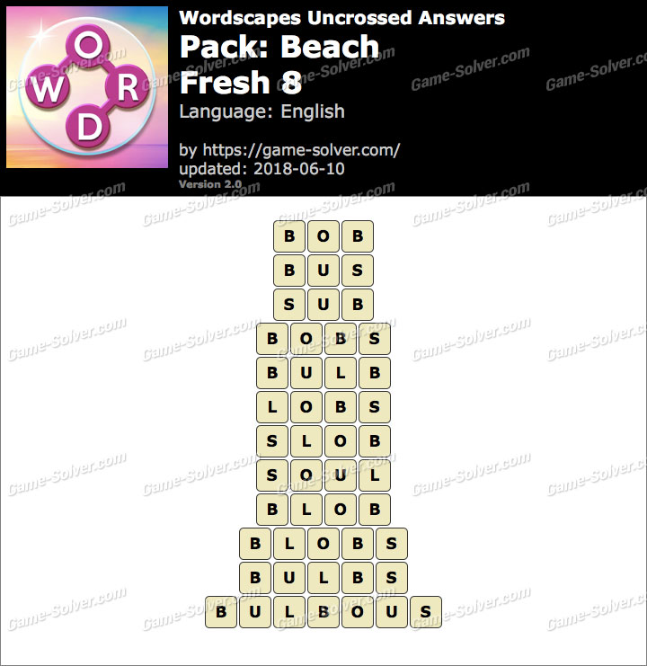 Wordscapes Uncrossed Beach-Fresh 8 Answers