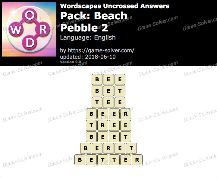 Wordscapes Uncrossed Beach-Pebble 2 Answers