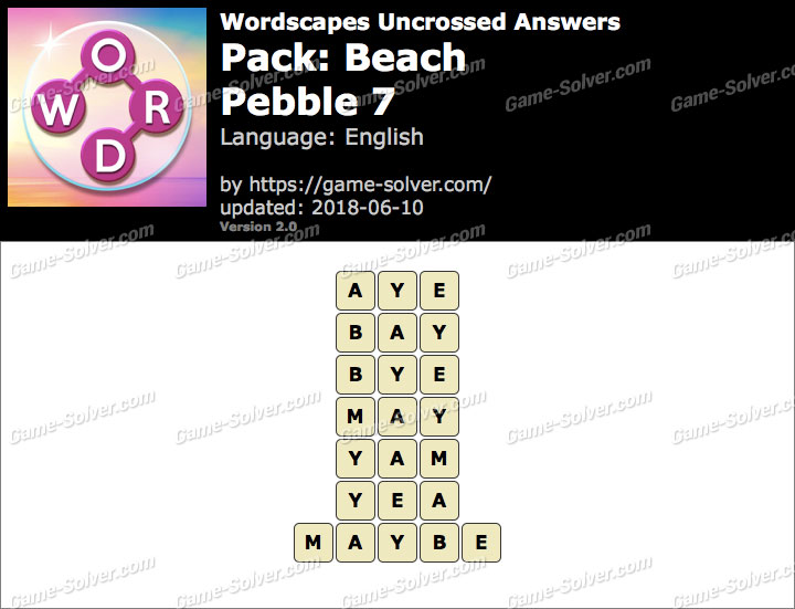 Wordscapes Uncrossed Beach-Pebble 7 Answers
