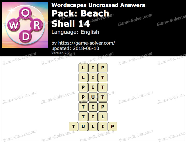 Wordscapes Uncrossed Beach-Shell 14 Answers