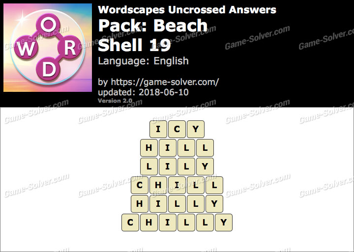 Wordscapes Uncrossed Beach-Shell 19 Answers