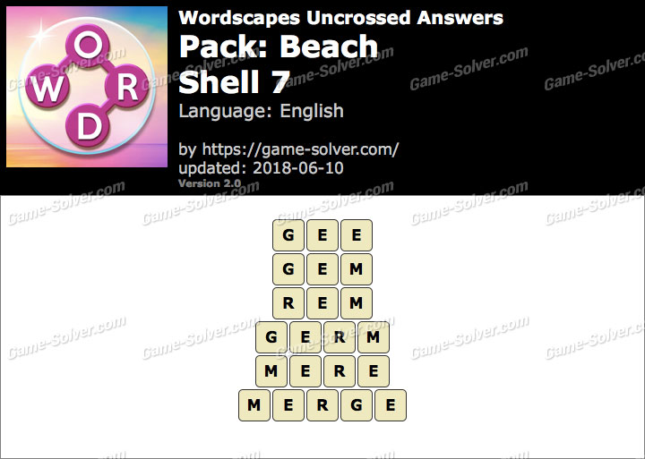 Wordscapes Uncrossed Beach-Shell 7 Answers