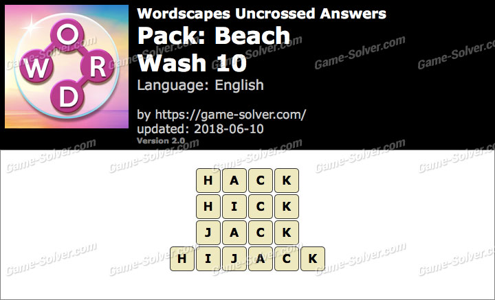 Wordscapes Uncrossed Beach-Wash 10 Answers