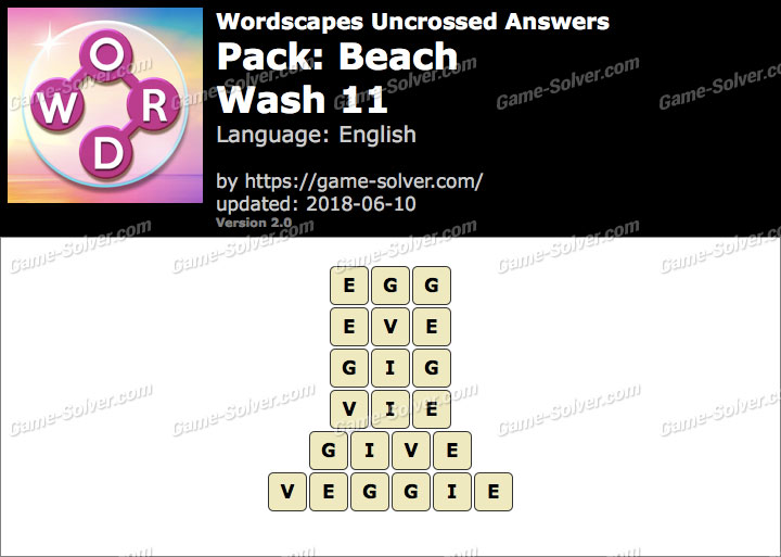 Wordscapes Uncrossed Beach-Wash 11 Answers