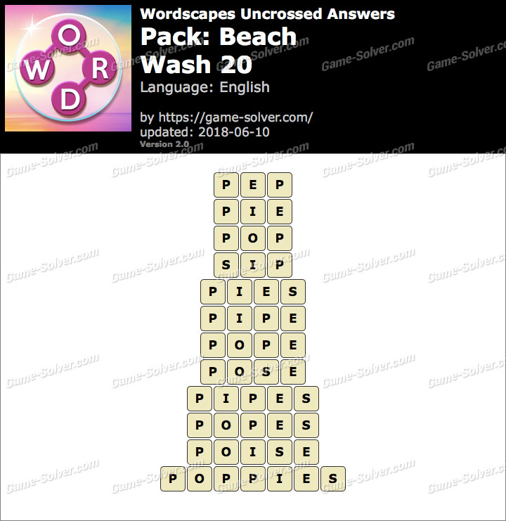 Wordscapes Uncrossed Beach-Wash 20 Answers