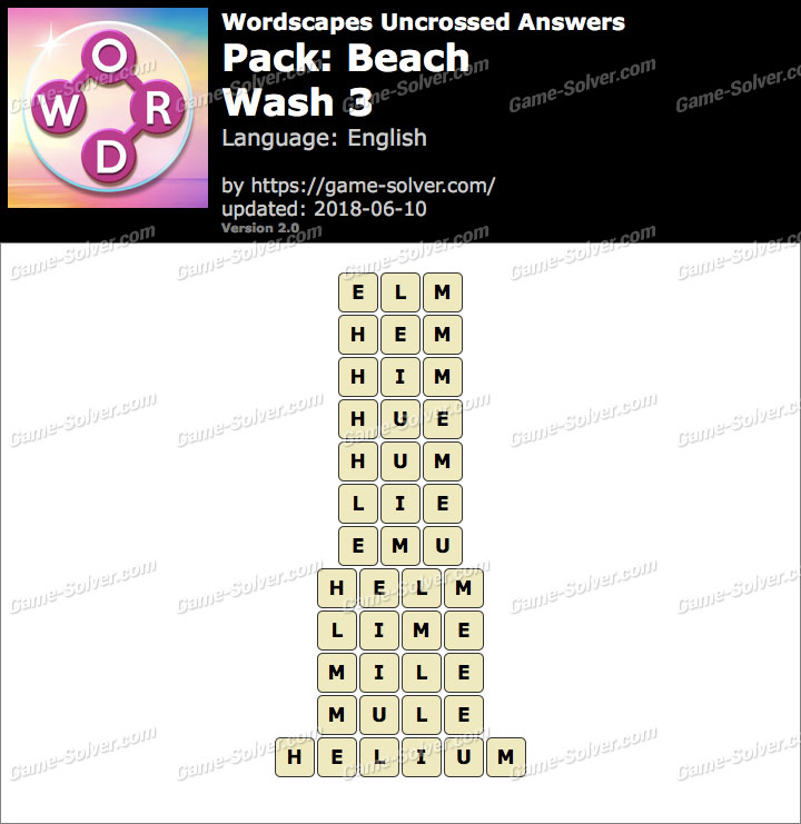 Wordscapes Uncrossed Beach-Wash 3 Answers