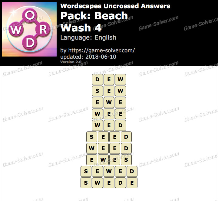 Wordscapes Uncrossed Beach-Wash 4 Answers