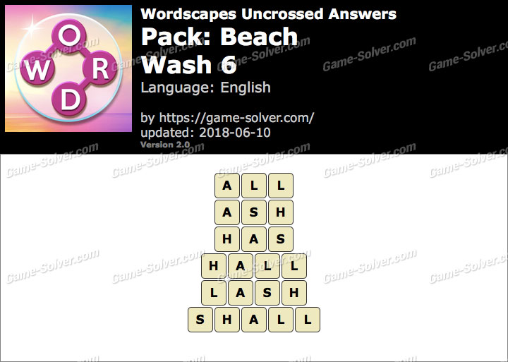 Wordscapes Uncrossed Beach-Wash 6 Answers