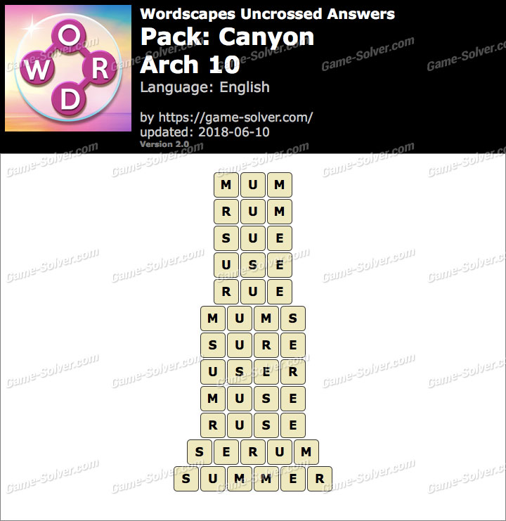 Wordscapes Uncrossed Canyon-Arch 10 Answers
