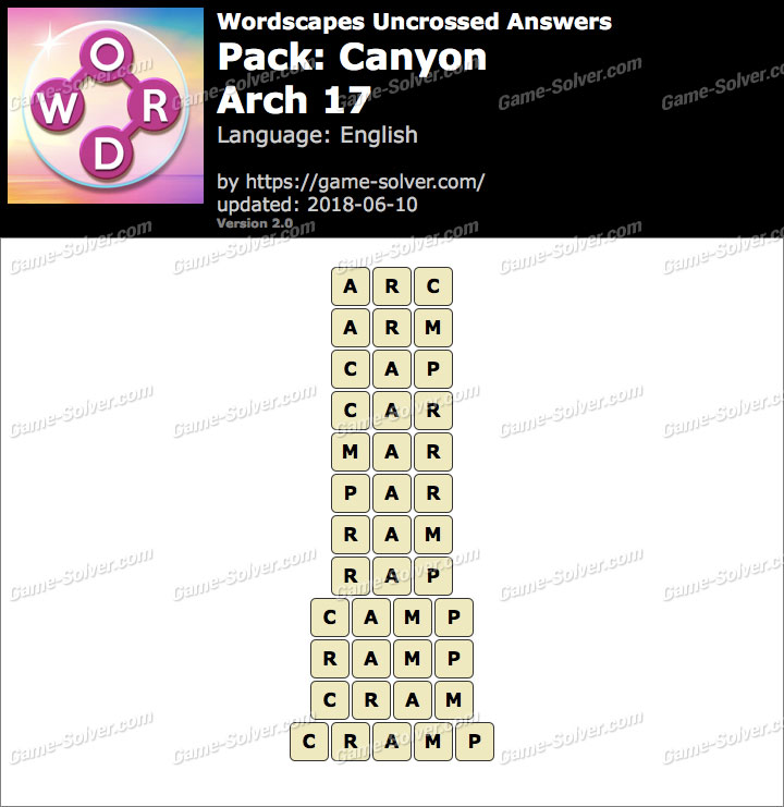 Wordscapes Uncrossed Canyon-Arch 17 Answers